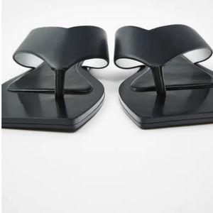 New Zara square toe flat sandals shoes